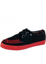 T.U.K. A7841 BLACK SUEDE WITH RED INTERLACE